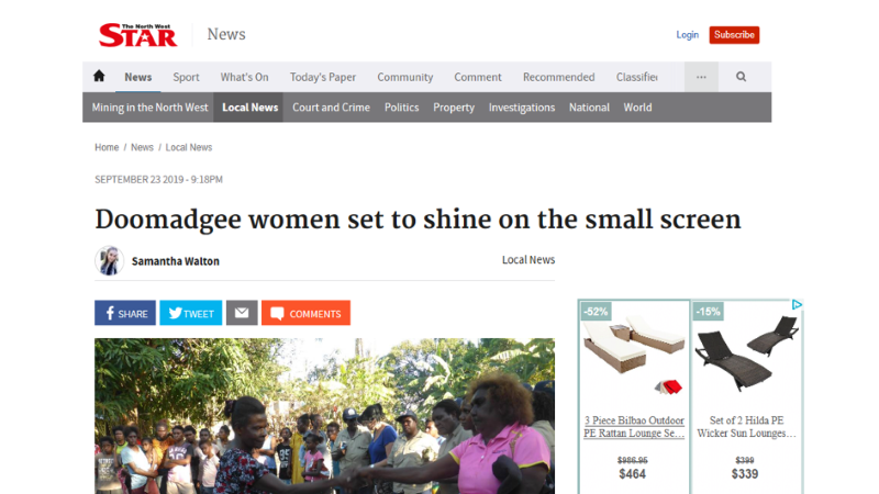 Media Article - Doomadgee women set to shine on the small screen